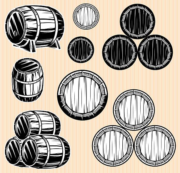 Vektor-set, einfarbige Muster mit Fässern für Getränke – Vektorgrafik