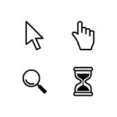 Vector cursors, hourglass,  pointer icon.
