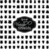 Vector set of 100 vintage shields.