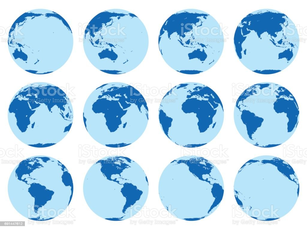 Vector set of 12 flat globes showing earth in 30 degrees rotation. vector art illustration