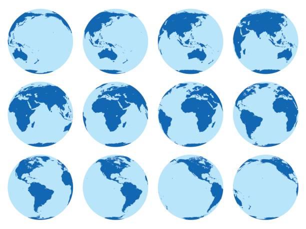 Vector set 12 flache Globen, die Erde in 30-Grad-Umdrehung. – Vektorgrafik