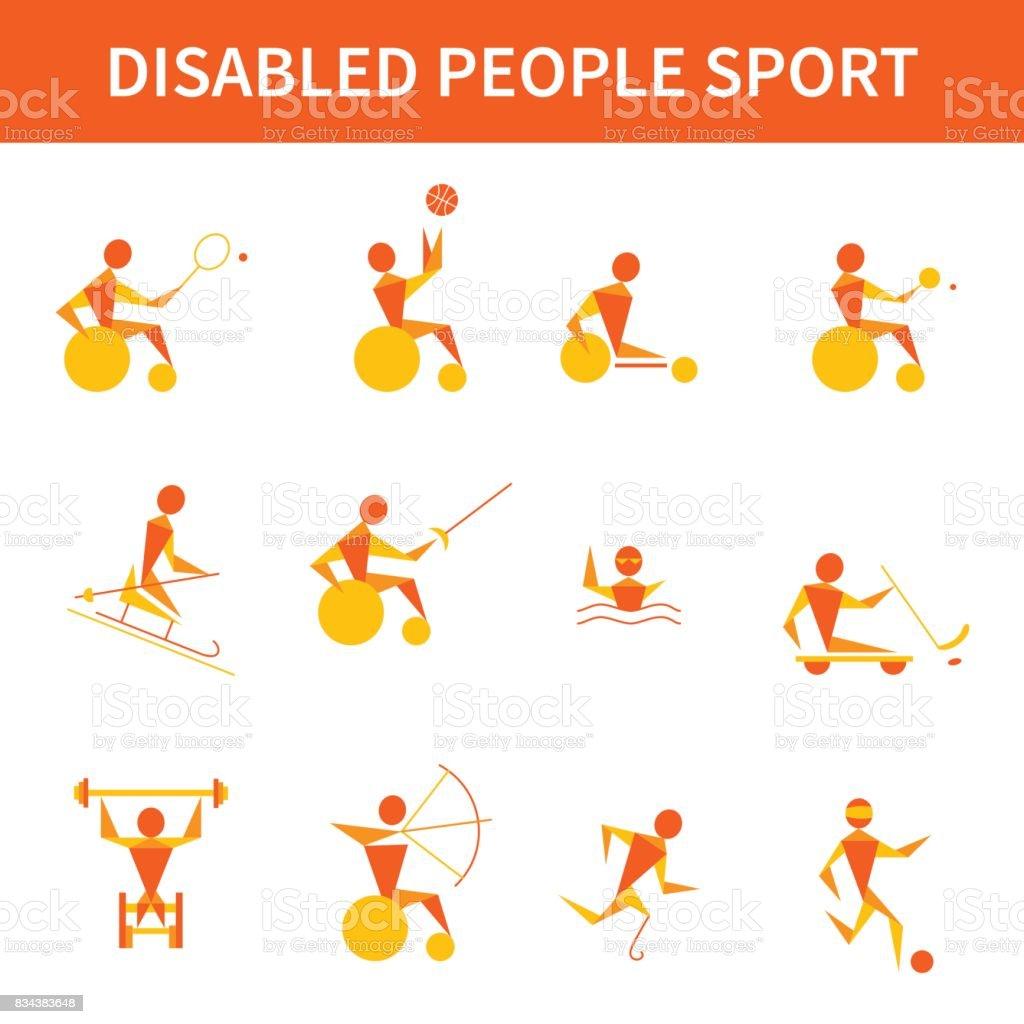 Vector set of 12 icons of disabled sportsmen vector art illustration
