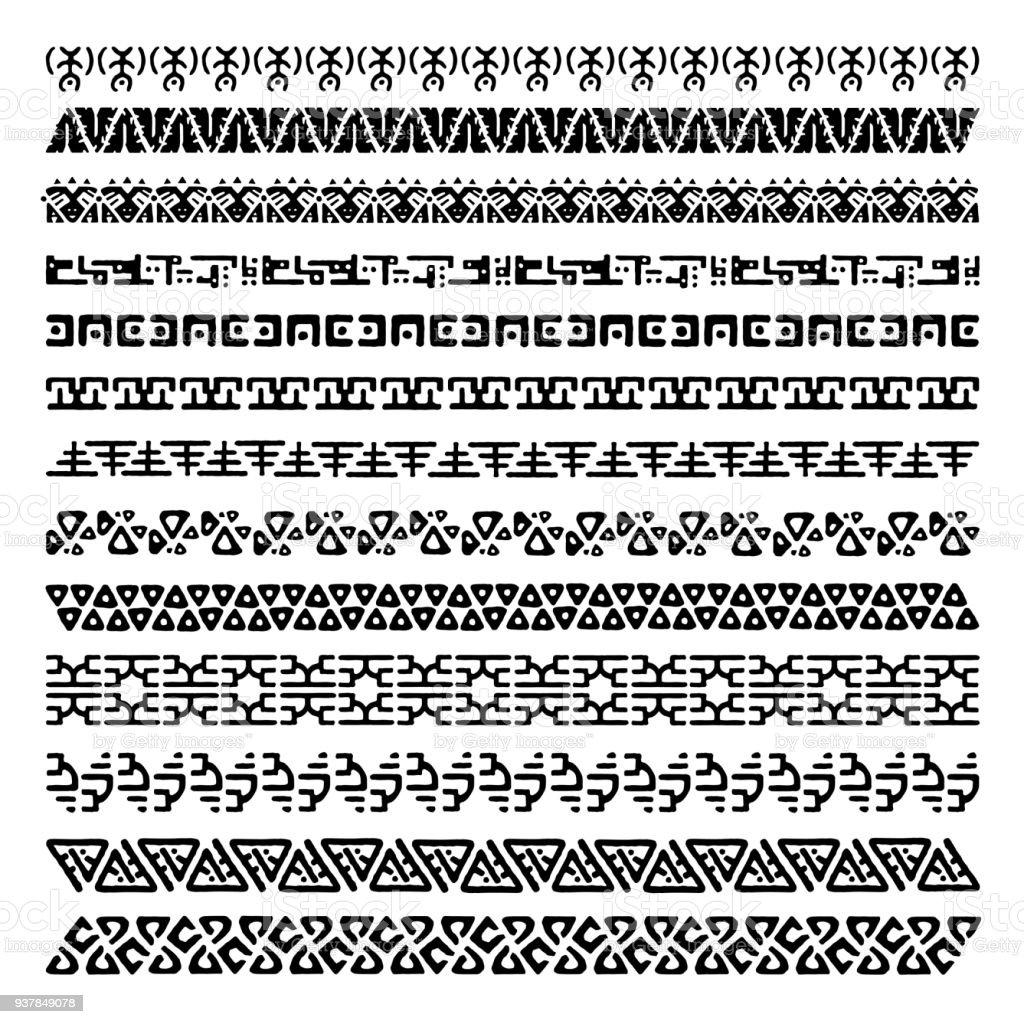 Vector set 13 dekorative geometrische nahtlose Grenzen im Ethno-Stil. Sammlung von Musterpinsel für Frames. Aztekische tribal Ornamente. Freihandzeichnen. Schwarz und weiß. – Vektorgrafik