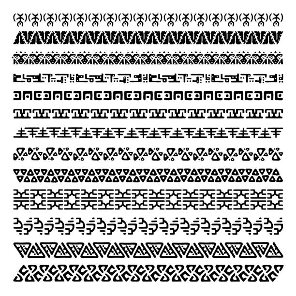 Vector set of 13 decorative geometric seamless borders in ethnic style. Collection of pattern brushes for frames. Aztec tribal ornaments. Freehand drawing. Black and white. Vector set of 13 decorative geometric seamless borders in ethnic style. Collection of pattern brushes for frames. Aztec tribal ornaments. Freehand drawing. Black and white. geographical border stock illustrations