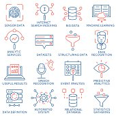 Vector set of 16 icons: data management, analytic service-part 1