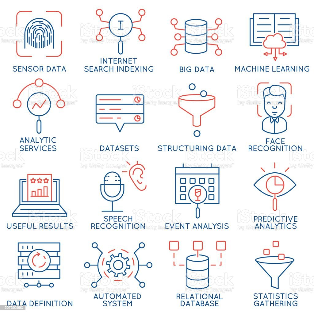 Vector set of 16 icons: data management, analytic service-part 1 vector art illustration