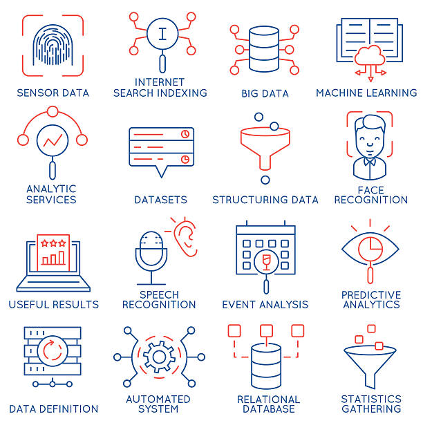 vector set of 16 icons: data management, analytic service-part 1 - machine stock illustrations, clip art, cartoons, & icons