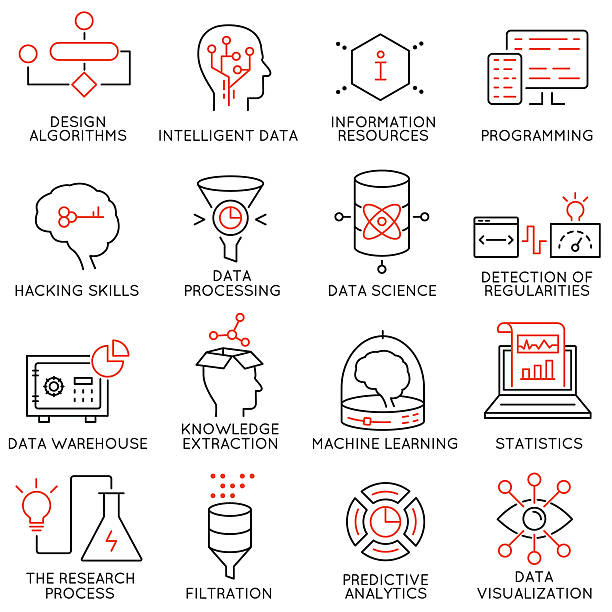 vector set of 16 icons: data management, analytic service-part 2 - being in a relationship with someone is going to require stock illustrations, clip art, cartoons, & icons