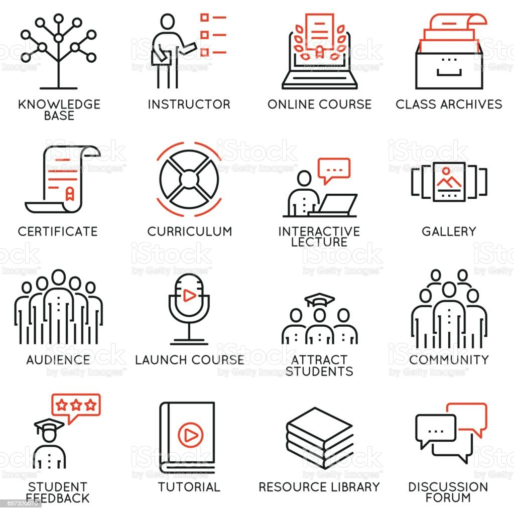 Vector set of 16 icons related to business education, training, career progress and refresher course. Mono line pictograms and infographics design elements vector art illustration