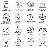 Vector set of 16 icons related to business intelligence, strategy management system and balanced scorecard. Mono line pictograms and infographics design elements