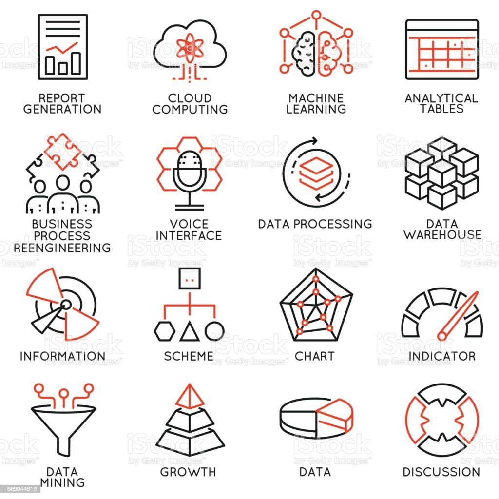 Vector set of 16 icons related to business intelligence, strategy management system and balanced scorecard. Mono line pictograms and infographics design elements vector art illustration
