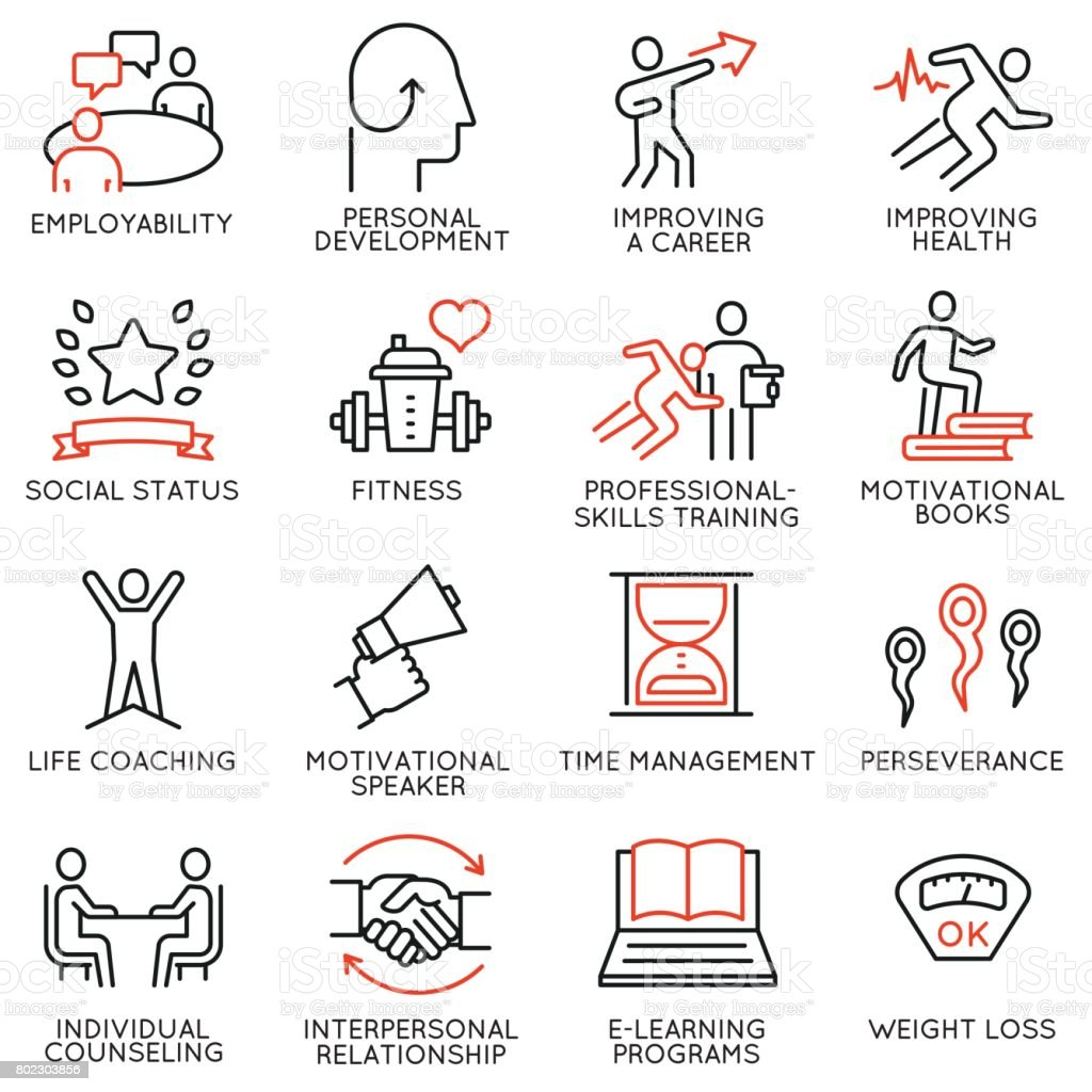Vector set of 16 icons related to career progress, personal development, workshop, professional consulting service, training and development. Mono line pictograms and infographics design elements - part 3