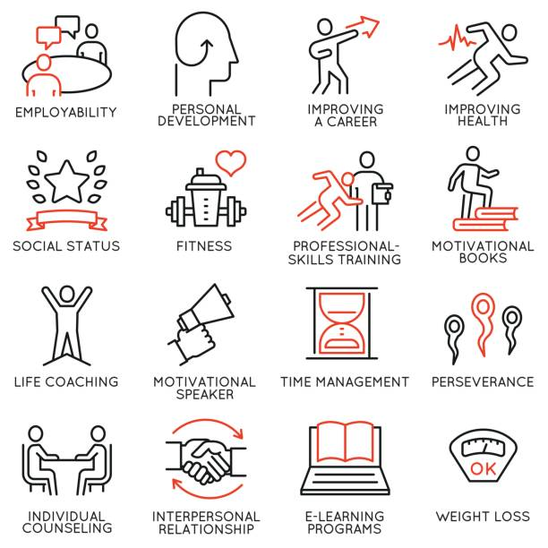 illustrations, cliparts, dessins animés et icônes de jeu de 16 icônes vectorielles relatives au déroulement de carrière, développement personnel, atelier, service professionnel de consultation, formation et développement. infographie et pictogrammes de ligne mono design éléments - partie 3 - lifestyle