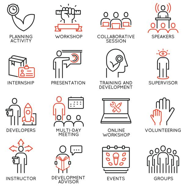 Vector set of 16 icons related to career progress, professional consulting service, training and development. Mono line pictograms and infographics design elements - part 1 vector art illustration