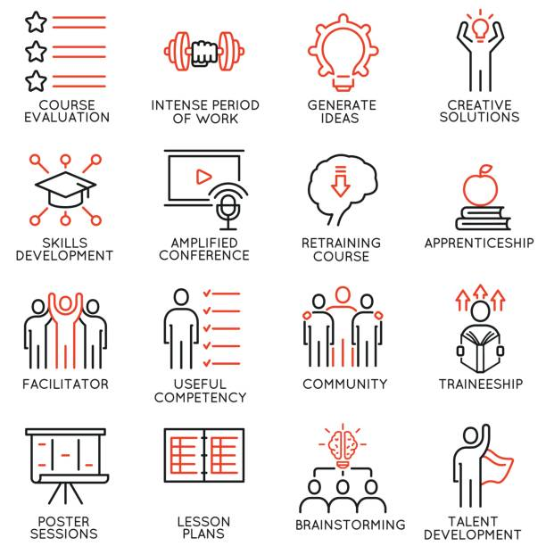Vector set of 16 icons related to career progress, workshop, professional consulting service, training and development. Mono line pictograms and infographics design elements - part 2 vector art illustration