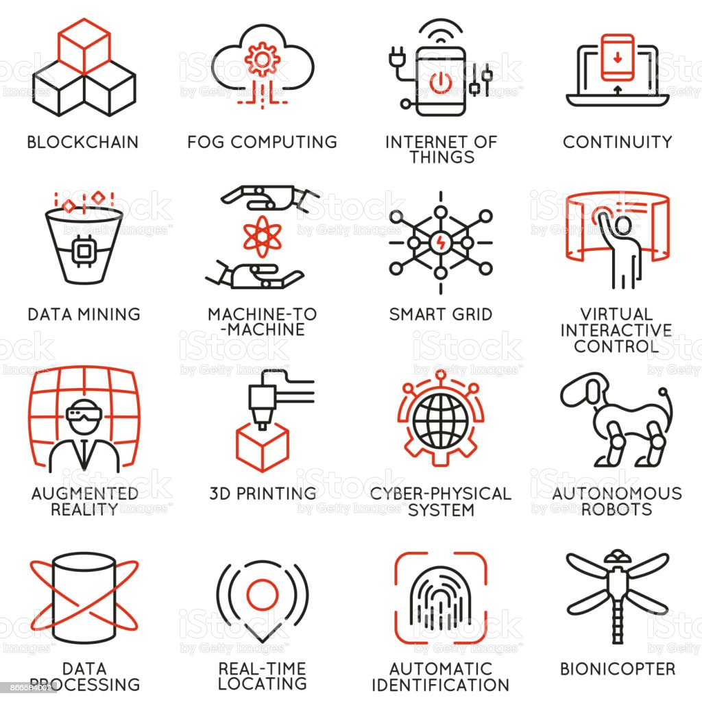Vector set of 16 linear icons related to innovation technology