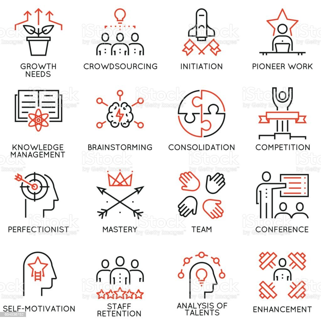 Vector set of 16 linear quality icons related to business management, strategy, career progress and business process - part 4 vector art illustration