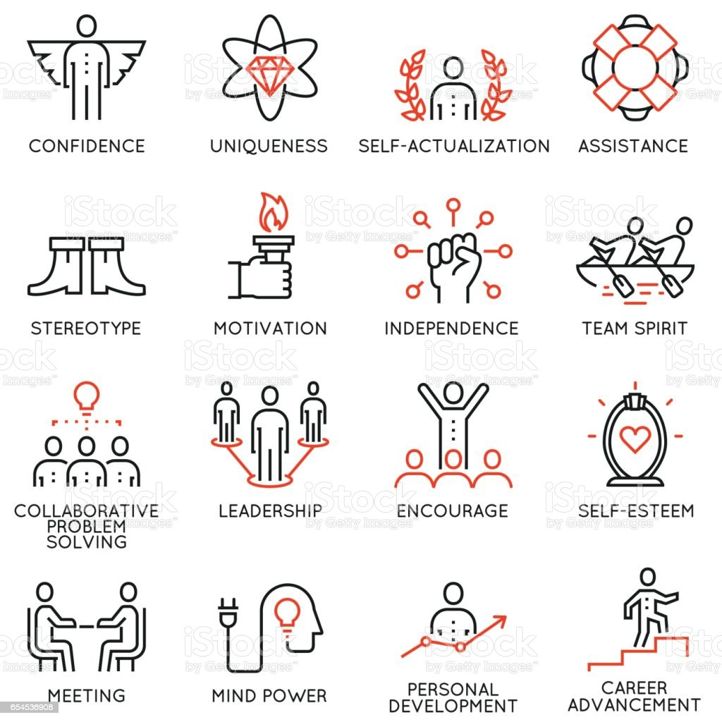 Set vector 16 linéaire d'icônes de qualité associés à la gestion de l'entreprise, stratégie, déroulement de carrière et plan de travai - partie 5 - Illustration vectorielle
