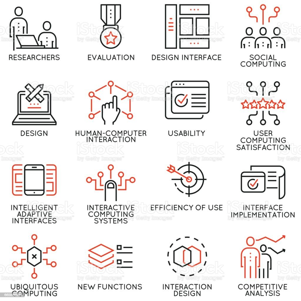 Vector set of 16 linear quality icons related to design, development, prototype of user interface and interaction. Mono line pictograms and infographics design elements