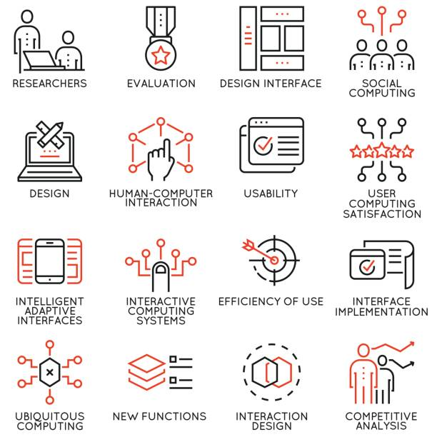 Vector set of 16 linear quality icons related to design, development, prototype of user interface and interaction. Mono line pictograms and infographics design elements vector art illustration