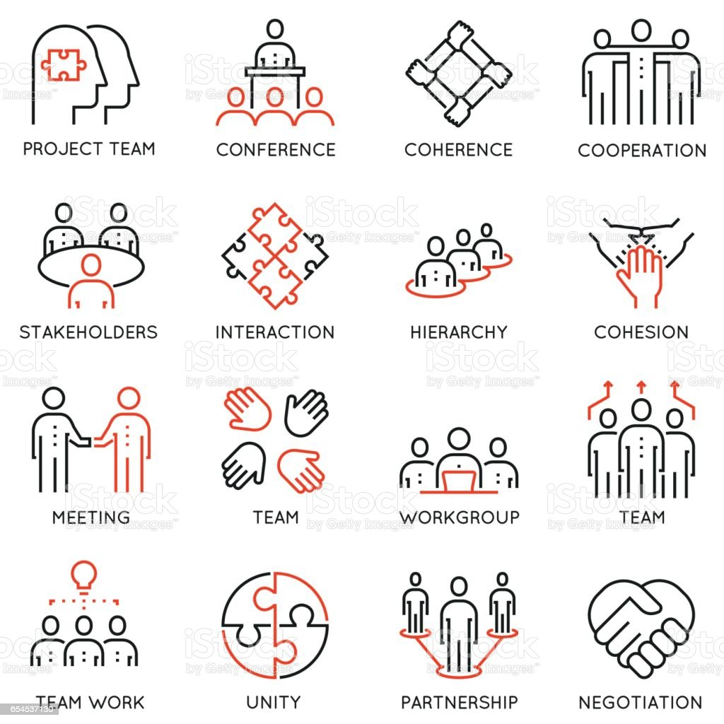 Vector set of 16 linear quality icons related to team work, career progress and business process vector art illustration