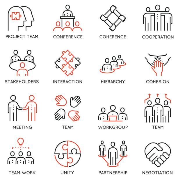 Vecteur série 16 linéaire d'icônes de qualité associés au travail d'équipe, de la carrière des processus de progrès et d'affaires - Illustration vectorielle