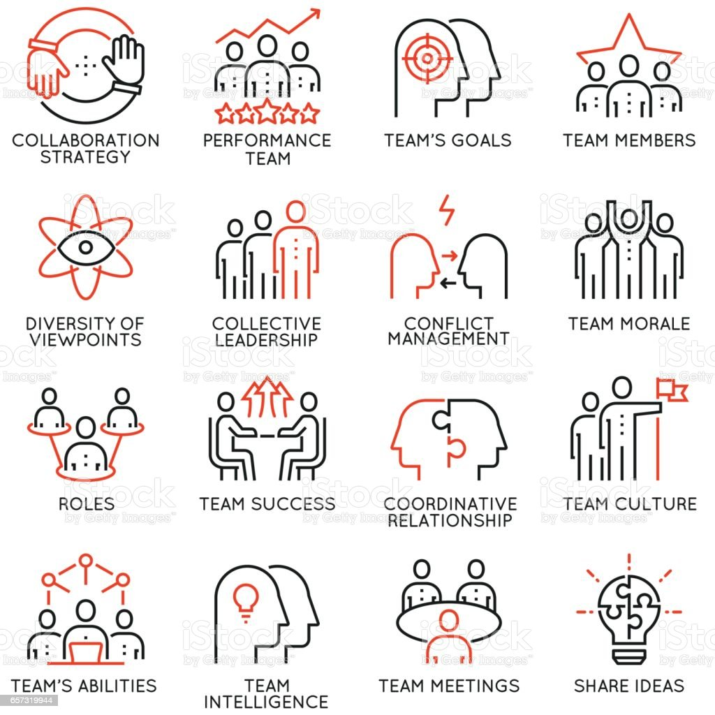 Vector set of 16 linear quality icons related to team work, career progress and business process. Mono line pictograms and infographics design elements - part 2 vector art illustration
