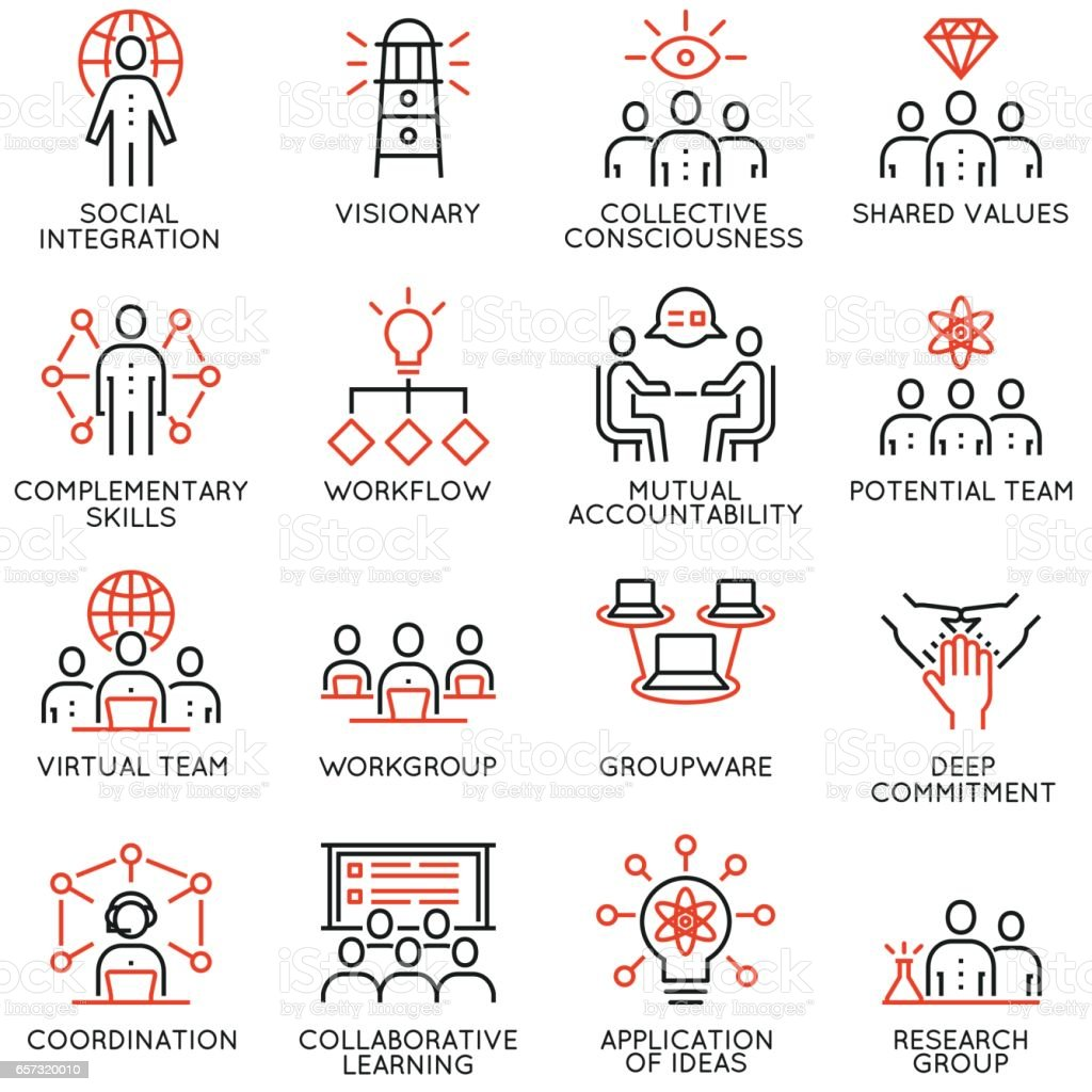 Vector set of 16 linear quality icons related to team work, career progress and business process. Mono line pictograms and infographics design elements - part 3 vector art illustration
