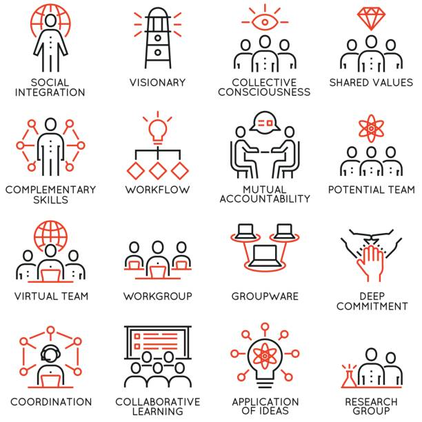 vector set of 16 linear quality icons related to team work, career progress and business process. mono line pictograms and infographics design elements - part 3 - koordynacja stock illustrations