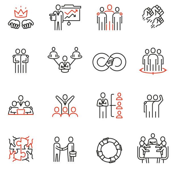 bildbanksillustrationer, clip art samt tecknat material och ikoner med vektor uppsättning av 16 linjära kvalitets ikoner relaterade till team arbete, mänskliga resurser, affärs interaktion. mono linje piktogram och infographics design element-del 3 - kontinuitet