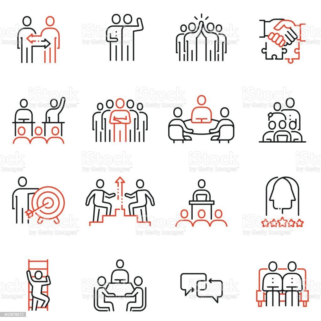 Takım çalışması, insan kaynakları iş etkileşimi ile ilgili 16 doğrusal kalite simgeler vektör kümesi. Mono line sembollerin ve infographics tasarım öğeleri - Bölüm 2 vektör sanat illüstrasyonu