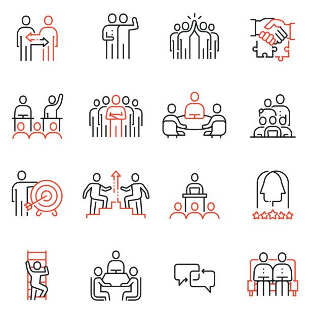 ilustrações de stock, clip art, desenhos animados e ícones de vector set of 16 linear quality icons related to team work, human resources, business interaction. mono line pictograms and infographics design elements - part 2 - team