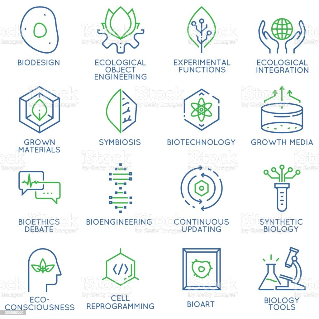 Vector set of 16 linear thin icons related to bio design, biotechnology and bioengineering. Mono line pictograms and infographics design elements - illustrazione arte vettoriale
