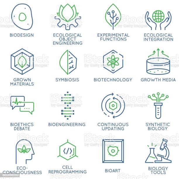 Vector Set Of 16 Linear Thin Icons Related To Bio Design Biotechnology And Bioengineering Mono Line Pictograms And Infographics Design Elements - Arte vetorial de stock e mais imagens de ADN