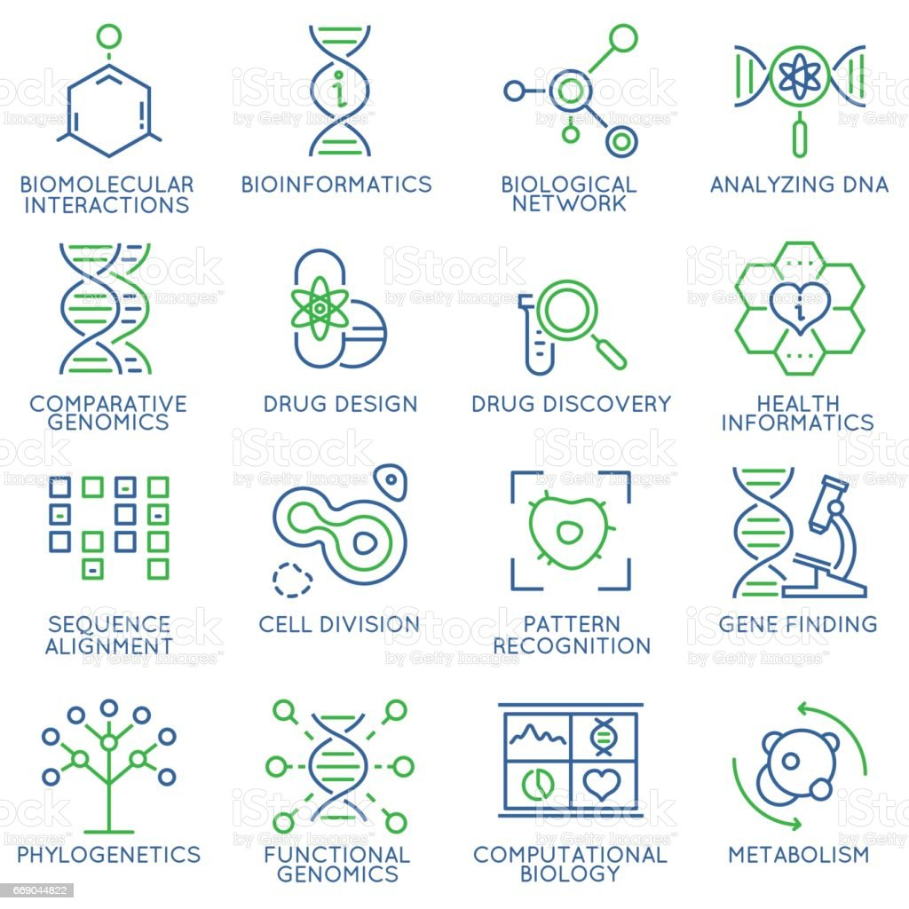 Vector set of 16 linear thin icons related to bioinformatics and bioengineering. Mono line pictograms and infographics design elements - illustrazione arte vettoriale