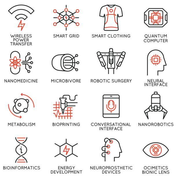 vektor-set von 16 dünne lineare icons, die im zusammenhang mit innovation in technik und medizin. neue erfindungen, menschliches leben zu verbessern. mono line piktogramme und infografiken design-elemente - stoffwechsel stock-grafiken, -clipart, -cartoons und -symbole
