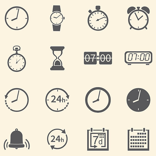 Vector Set of 16 Time Icons Vector Set of 16 Time Icons wall clock stock illustrations