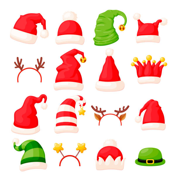 bildbanksillustrationer, clip art samt tecknat material och ikoner med vektor uppsättning 16 olika jul hattar och huvud tillbehör dekorerad med päls, klockor och stjärnor - hatt