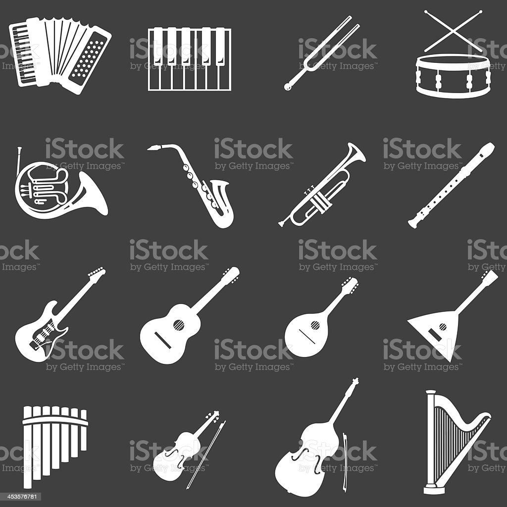 vector set of 16 white musical instruments icons vector art illustration