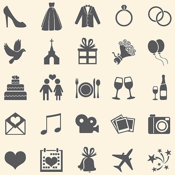 Vecteur ensemble de 25 icônes mariage - Illustration vectorielle