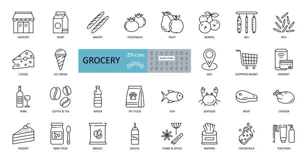 ilustrações de stock, clip art, desenhos animados e ícones de vector set of 29 grocery icons with editable stroke. images of the departments of the grocery store, online sales, geo delivery, consumer basket, dairy and meat products, bread, vegetables, fruits - food