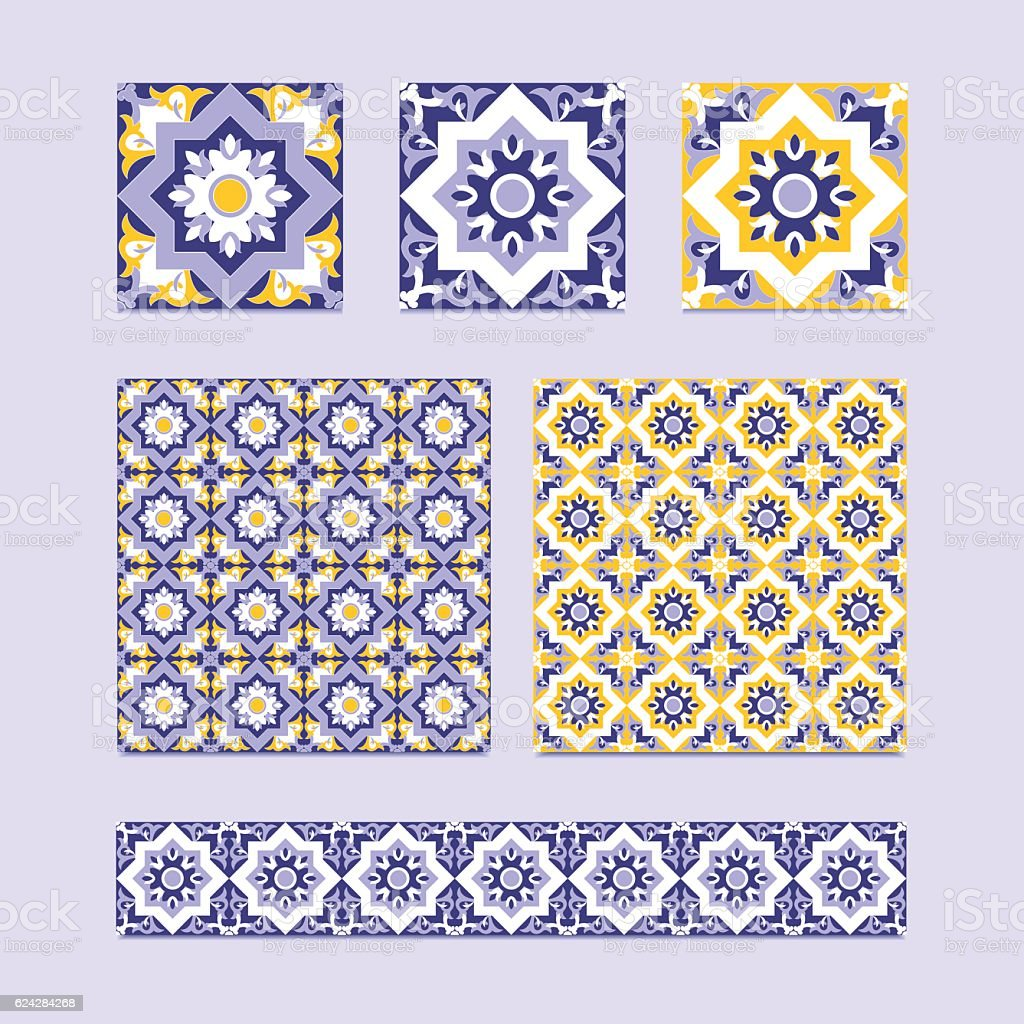 Vector set of 3 ceramic tiles, 2 tiled patterns vector art illustration
