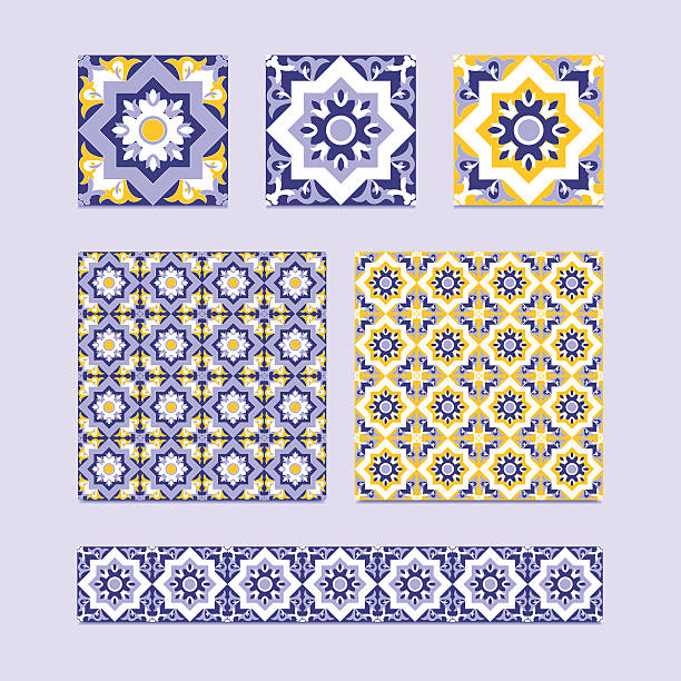 vector set of 3 ceramic tiles, 2 tiled patterns - tile pattern stock illustrations, clip art, cartoons, & icons