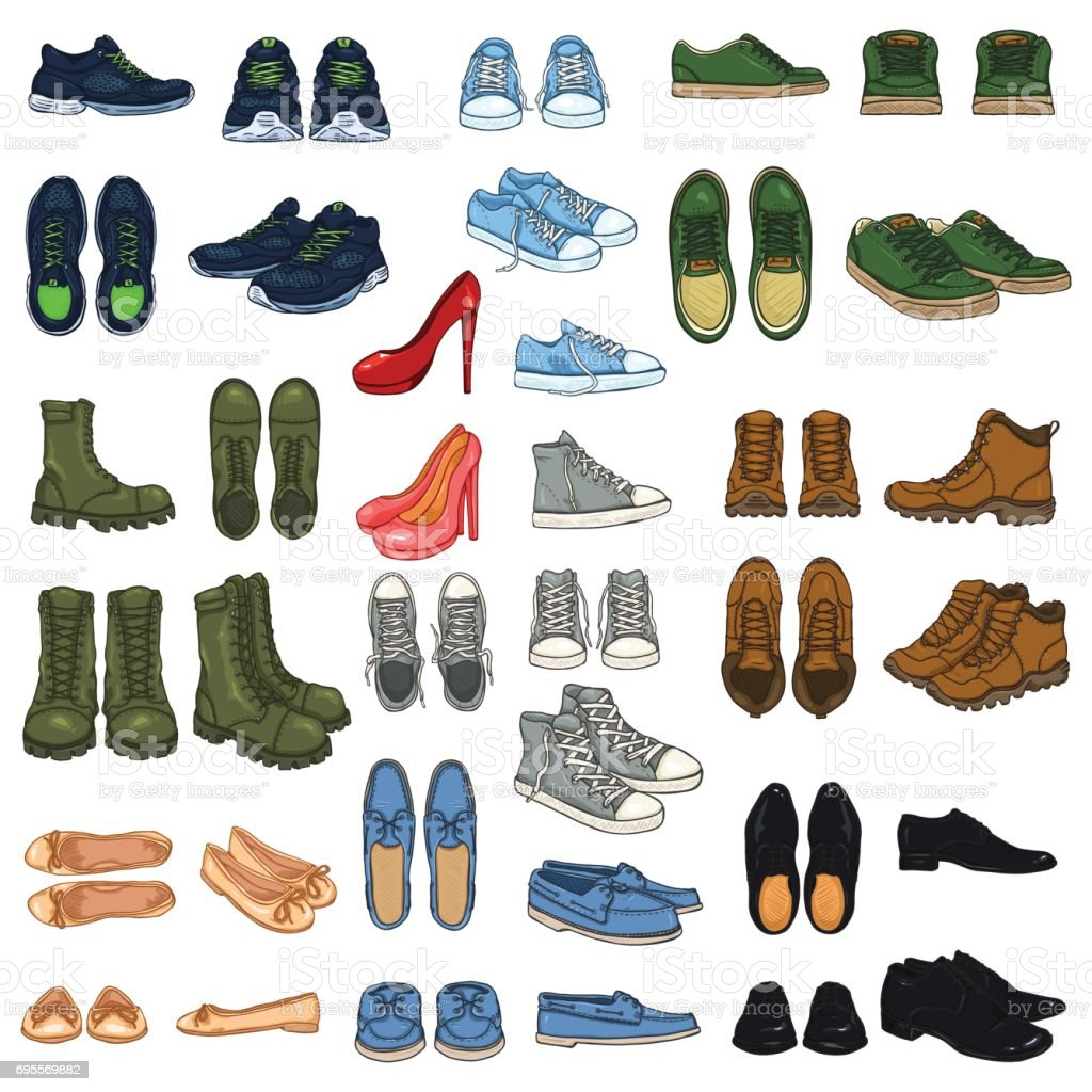 Vector Set of 37 illustrations - Cartoon Color Shoe Items. vector art illustration