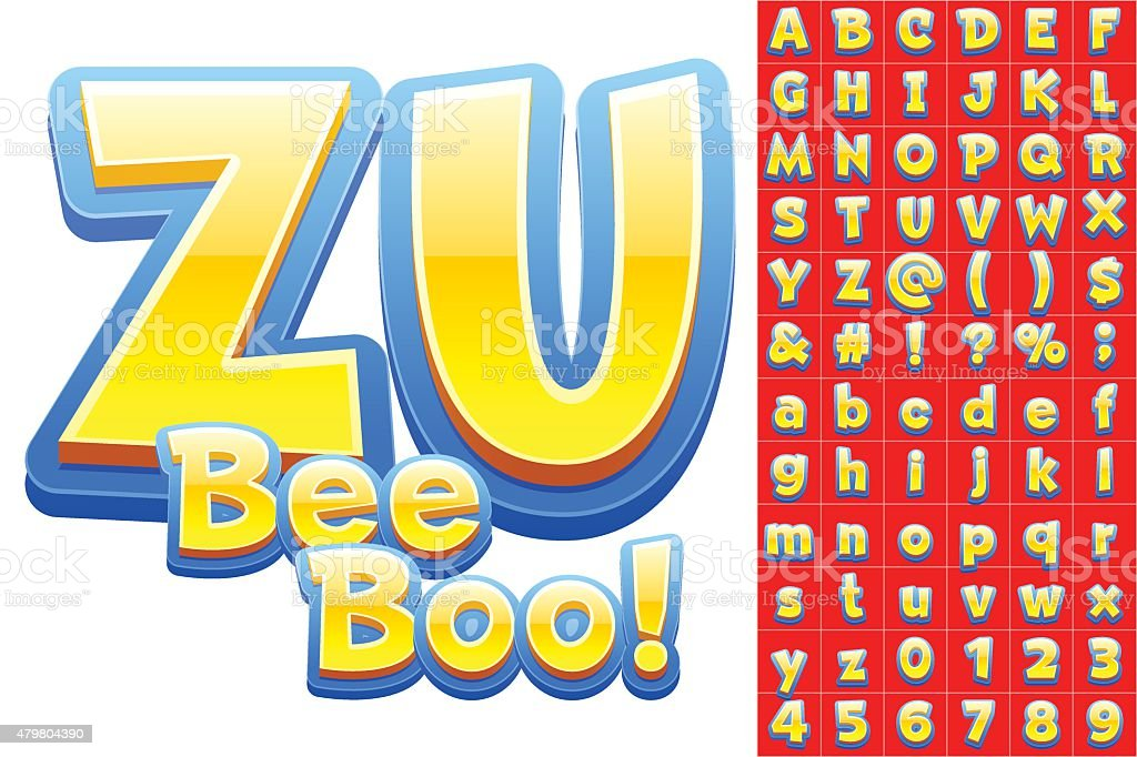 Vector set of 3D colorful children font in cartoon style