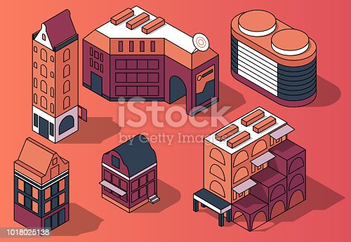 Vector set of 3D isometric residential multi-storey buildings, houses in modern and retro style in pink and purple colors isolated on background. Design elements