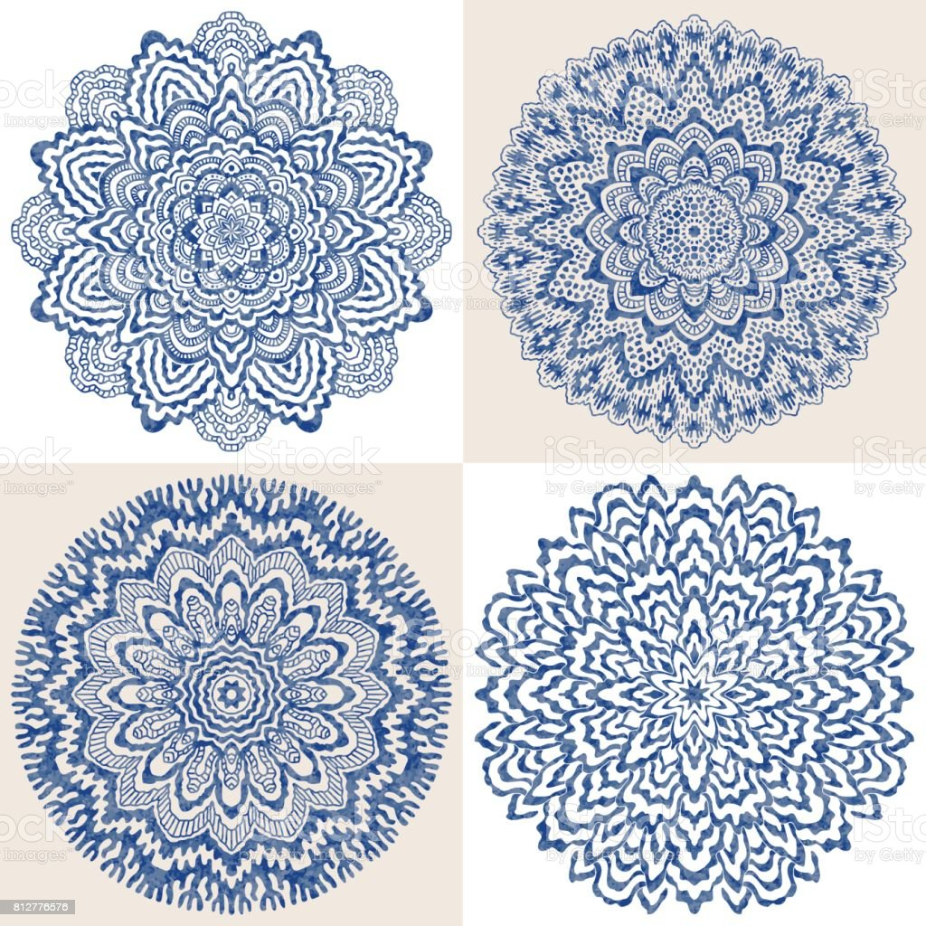 Vector set of 4 abstract blue rosette with watercolor painting texture on a  beige and white background. Ornament for business, greeting, invitation cards. Hand drawn mandala round tracery. Batik, fantasy t-shirt textile print, poster vector art illustration