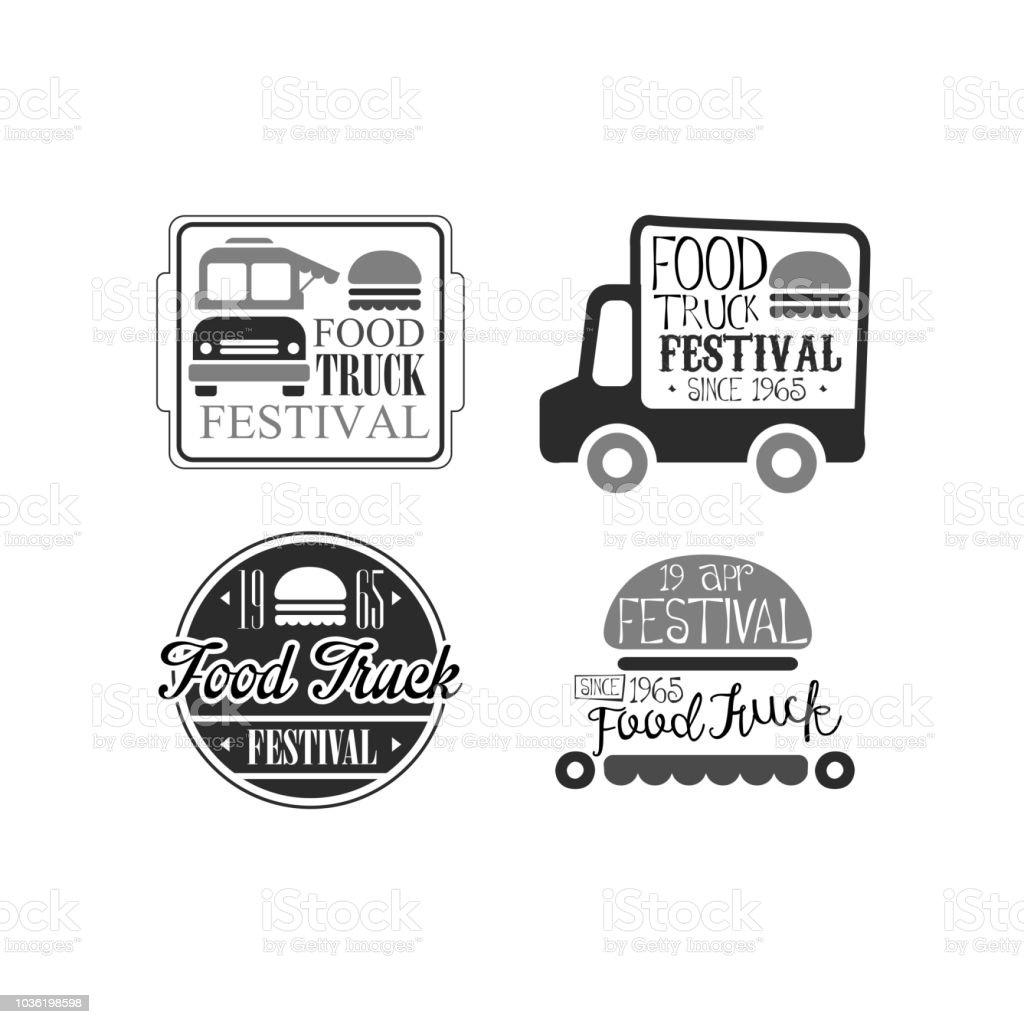 Vector set 4 kreative Embleme für LKW feinschmeckerfest. Straße zu essen. Monochrome Logos mit vans, Burger und Schriftzug – Vektorgrafik