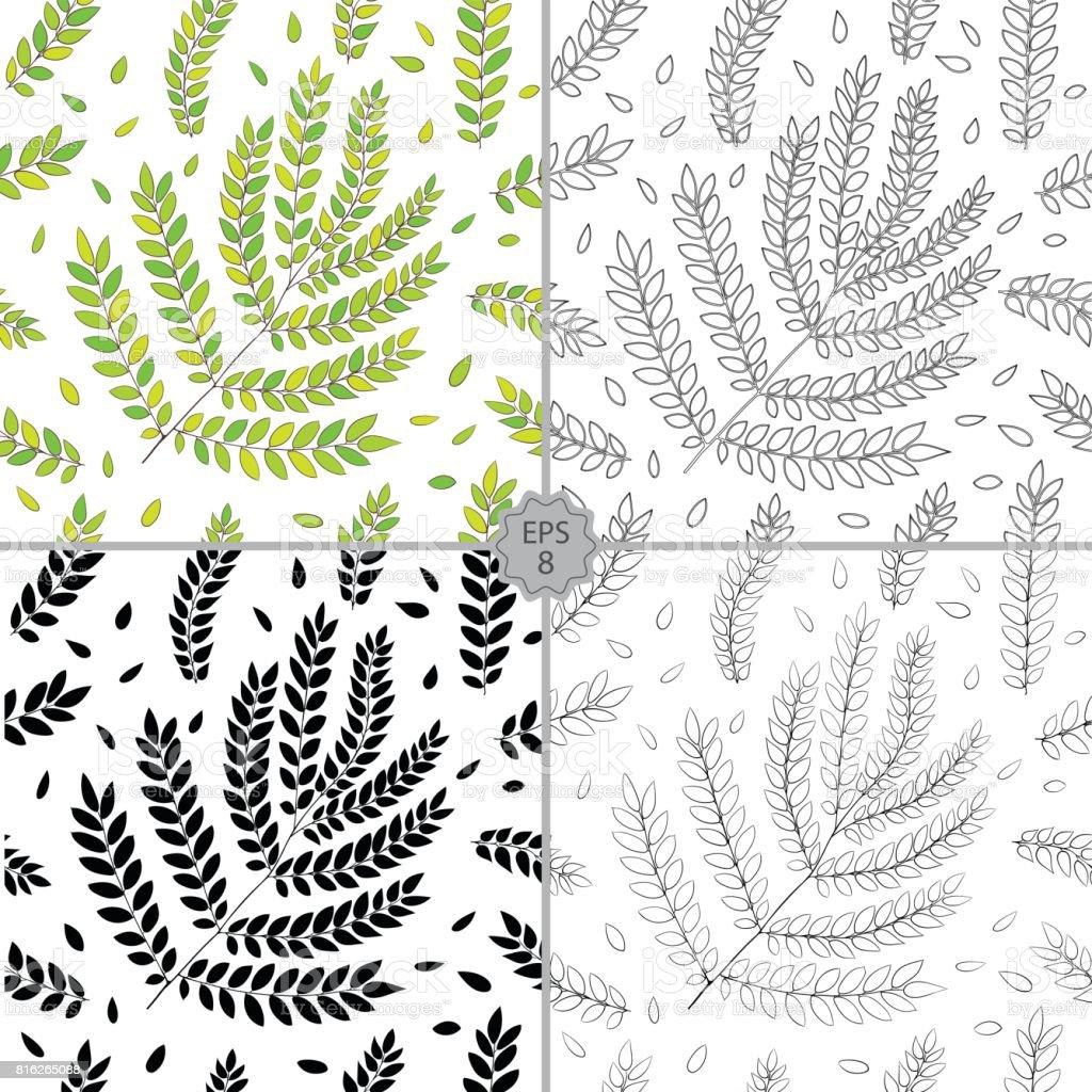 4 Sorunsuz Cicek Desenli Vektor Kumesi El Drawn Fiskin Doku