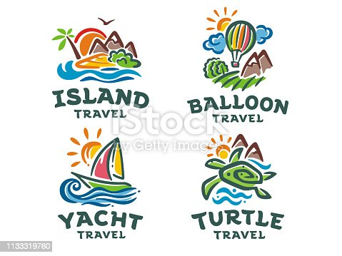 Vector set of 4 signs. Travel illustration.